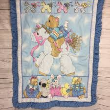 vintage teddy riding horse baby quilt