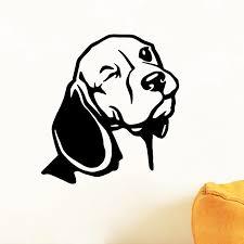 Beagle Wall Decal For Car Laptop Decor Vinyl Sticker Dog Head Beagle Wall Art Mural Living Room Wall Decoration Wall Stickers Aliexpress