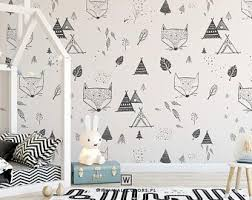 Kids Wallpaper Foxes In The Forest Fox White Background Removable Wallpaper Wall Mural Kids Bedroo Kids Wallpaper Kids Bedroom Decor Nursery Wall Murals
