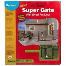 Carlson Outdoor Super Wide Pet Gate 28 H X 144 W W Small Dog Door 891618001868 Ebay