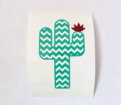 Amazon Com Chevron Cactus Vinyl Decal Sticker For Yeti Cup Tumbler Laptop Mug Or Car Window Accessories For Women Turquoise And Burgundy 3 25 Inches X 2 5 Inches Die Cut Handmade