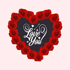 love you with heart and roses free vector