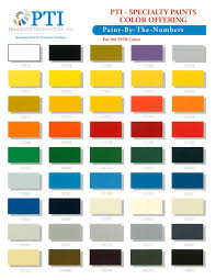 pti specialty paint color chart