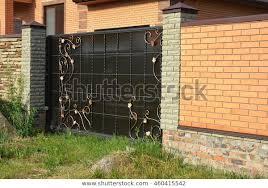 Brick Fence Gate Modern Style Design Buildings Landmarks Stock Image 460415542