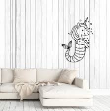 Vinyl Wall Decal Cartoon Unicorn Pony Mermaid Tail Baby Room Stickers Wallstickers4you
