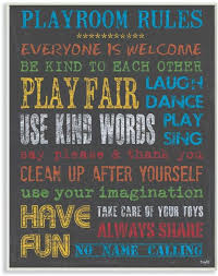 Amazon Com The Kids Room By Stupell Rainbow Chalkboard Playroom Rules Rectangle Wall Plaque 11 X 0 5 X 15 Proudly Made In Usa Baby