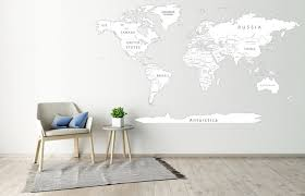 World Map Decal White Map World Map Vinyl Printed Solorful Etsy Map Wall Decal Push Pin World Map Detailed World Map