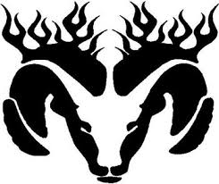 Dodge Ram Head With Flames Vinyl Cut Decal