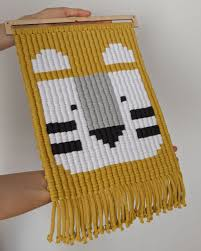 Tyson The White Tiger With Mustard Background Macrame Wall Tapestry For Kids Crochet Wall Hangings Tapestry Rug Wall Hanging