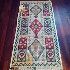 geometric rug hooking canvas boho rug
