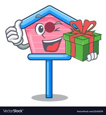 bird house on a pole cartoon vector image
