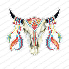 Bull Skull Decal Car Decal Tribal Bull Car Decal Skull Yeti Etsy