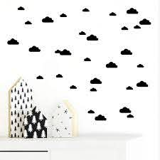 Amazon Com Juekui Set Of 134 Mini Clouds Wall Decal Stickers Gold Black White Cloud Wall Decals Nursery Home Decor Vinyl Pattern Wall For Kids Rooms Ws01 Black Baby