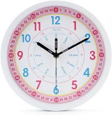 Amazon Com Jomparis Kids Wall Clock Learning Time Wall Clock Educational Teaching Clock 10 Inch Silent Non Ticking Quality Quartz Battery Operated Wall Clocks For Grils Room Kids Room Playroom White Kitchen Dining