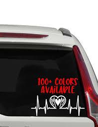 Mom Heartbeat Car Decal Heart Beat Decal Heart Stuff Sticker Etsy