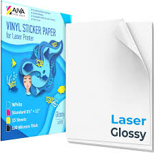 Amazon Com Printable Vinyl Sticker Paper For Laser Printer Glossy White 15 Self Adhesive Sheets Waterproof Decal Paper Standard Letter Size 8 5 X11 Office Products