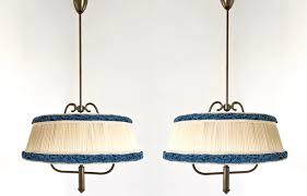 italian ivory and blue pendant lamps