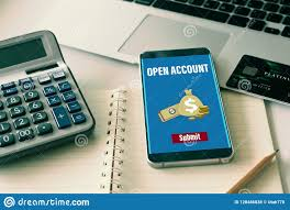 Open a bank account online stock photo. Image of account - 128486838