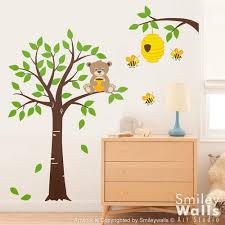 Honey Bear And Bees Hive Tree Wall Decal Baby Wall Decal For Kids Smileywalls On Artfire
