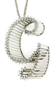 diamond alphabet initial letter g necklace