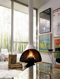 midcentury modern freestanding fireplace