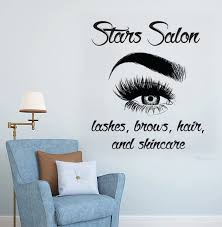 Eyelashes Wall Sticker Vinyl Lash Decals Eyebrows Wall Decal Lashes Decal Beautiful Beauty Salon Decal Customized Decals Hy12 Wall Stickers Aliexpress