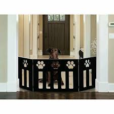 Indoor Dog Fence Gate Pow Free Standing Adjustable Black Wood Construction Us