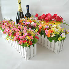 Wedding Decor Artificial Flower Fake Daisy In White Picket Fence Pot Pack Louis Simulation Artificial Flowers Garden Small Plant Artificial Dried Flowers Aliexpress