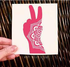 Peace Fingers Mandala Vinyl Decal Peace Decal Peace Hand Mandala Car Decal Car Sticker Hippie Peace Sign Mandala Pea Vinyl Decals Mandala Decals Vinyl
