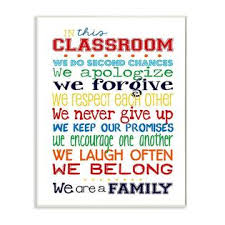 Langdb017ass2d6 The Kids Room By Stupell In This Classroom Rules Typography Art Wall Plaque 11 X 0 5 X 15 Proudly Made In Usa