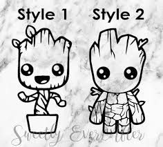 Baby Groot Decal Sticker Guardians Of The Galaxy Decal Baby Groot Etsy Stickers