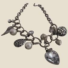 chunky charm necklace with hearts