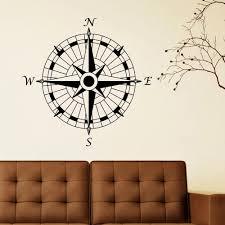 Amazon Com Battoo Compass Wall Decal Compass Rose Nautical Decal Beach Theme Wall Decal Travel Decor Dark Brown 22 H X22 W Home Kitchen