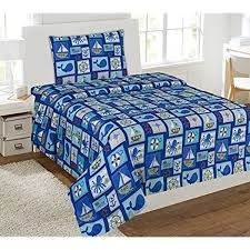 Amazon Com Wpm Sailor Blue Bedding Set Whale Shark Sea Creatures Boat Print Choose From Full Twin Comforter Or Bed Sheets Or Window Curtains Panels For Kids Girls Boys Room Twin Sheets Home Kitchen
