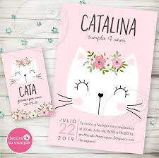 Kit Imprimible Gatita Romantica Flores Rosa Invitacion Candy