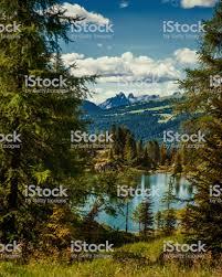 Glimpse Of Colbricon Lake Rolle Pass Trentino Alto Adige Italy Stock Photo  - Download Image Now - iStock