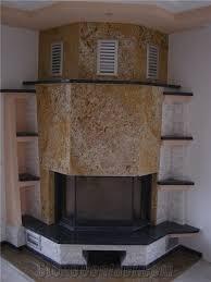 golden oak granite fireplace surround