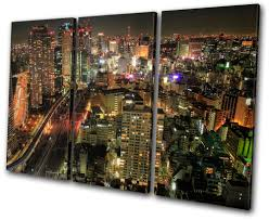 City Night Japan Tokyo Skyline Treble Canvas Wall Art Picture Print Va Ebay