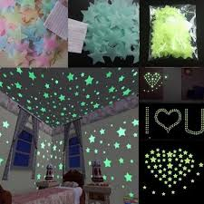 100pcs 3d Star Wall Stickers Glow In The Dark Home Decor Kids Room Bedroom Mural
