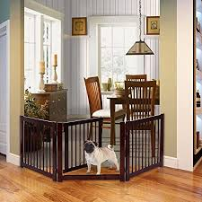 Amazon Com K A Company Configurable Folding Panel Dog Fence 24 3 Wood Gate Pet Free Standing Safety Adjustable Puppy Garden Outdoor
