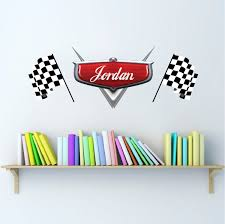 Personalized Boys Race Car Name Decal Car Wall Decals Automotive Decals Kids Room Wall Murals Race Track Wall Stickers Primedecals