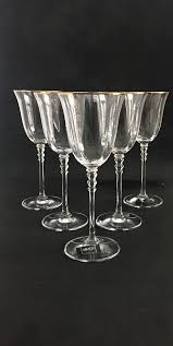 mikasa crystal wine glasses with gold