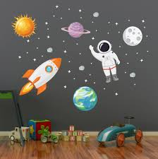 Outer Space Wall Decal Stars Planets Astronaut Rocket Solar System Wall Art Kids Wall Decals Space Wall Decals Kids Wall Decals Art Wall Kids