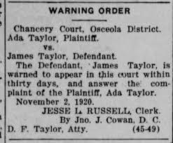 Ada Taylor vs James Taylor - Newspapers.com