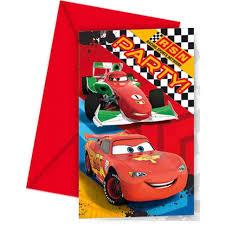 Pack De 6 Invitaciones Cumpleanos Disney Cars