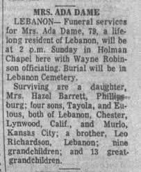 Obituary ~ Ada Richardson Dame - Newspapers.com