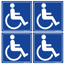 Amazon Com Set Of 4 Handicap Disabled Wheelchair Accessible Sign 6 X 6 4 Mil Vinyl Laminated For Extra Durability Self Adhesive Decal Uv Protected Weatherproof Heavy Duty Industrial Scientific