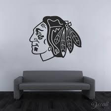 Ice Hockey Team Chicago Blackhawks Black And White Nhl Hockey Logo Decall Ca