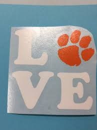 Vinyl Decal I Love The Tigers Clemson University Tiger Paw Any Color Sticker Cellphone Yeti Car Rear Vinyl Decals Vinyl Monogram Yeti Car
