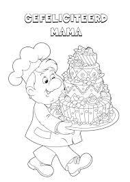 Kleuren Nu Een Verjaardagstaart Voor Mama Kleurplaten